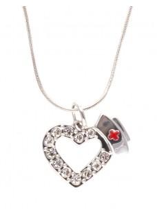 Necklace Nurse Heart Diamante Stones