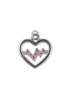 Heartbeat Silver-Pink Pendant (Small)