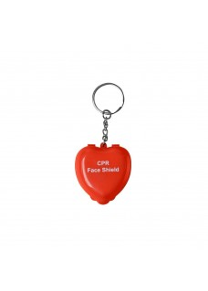 CPR Mask Key Ring Heart Red