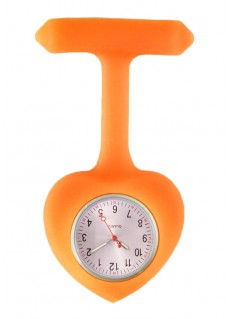 Silicone Heart Nurse Fob Watch Orange