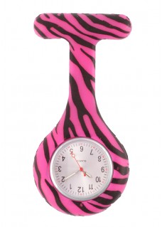 Nurses Fob Watch Zebra Pink