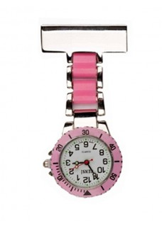 Nurses Fob Watch Silver Pink