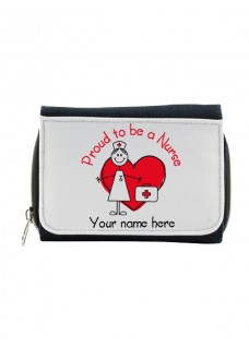 Ladies Denim Purse Proud to be a Nurse with Name Print