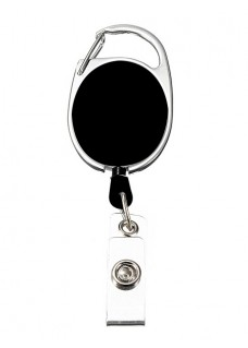 Retractable Badge/ID Holder Carabiner Black