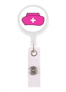 Retracteze ID Holder Nurse Hat Pink