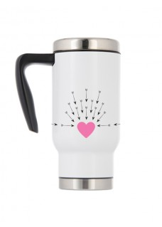 Thermo Travel Mug Heart Arrows