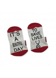 Nurse Socks Grey Beautiful Day