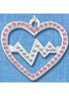 Heartbeat Silver-Pink Pendant(Large)