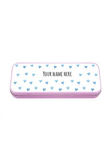 Metal Stationary Case Blue Hearts