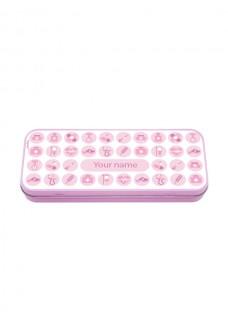 Metal Stationary Case Medical Symbols Pink