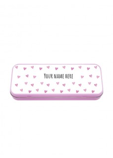 Metal Stationary Case Pink Hearts
