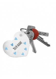 Key Chain Blue Harts with Name Print
