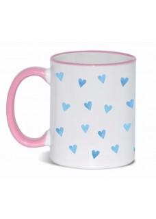 Mug Blue Hearts Pink