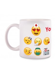 Mug Emoji Nurse with Name Print