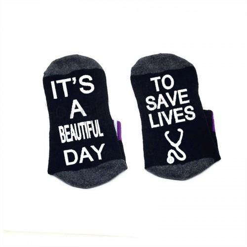 Nurse Socks Black Beautiful Day