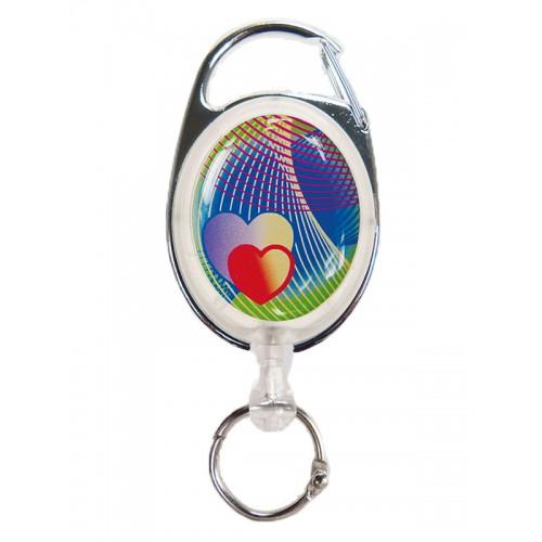 Deluxe Retractable badge/ID Hearts with carabiner