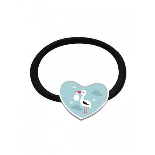 Elastic Hair Band Stork Baby Heart