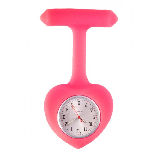 Silicone Heart Nurse Fob Watch Pink