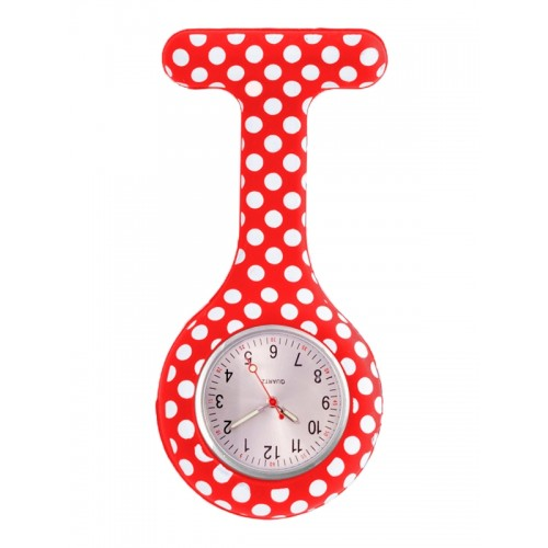 Nurses Fob Watch Polka Dots Red