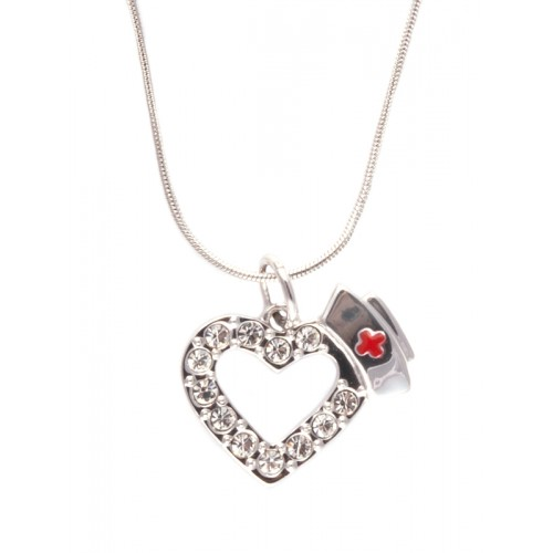 Necklace Nurse Heart Diamante Stones