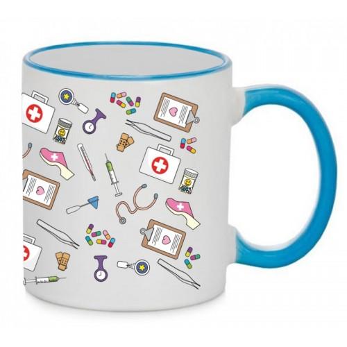 Mug Medical Symbols Blue