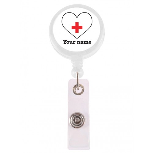 Retracteze ID Holder White Heart with FREE name print