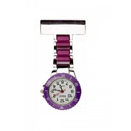 Nurses Fob Watch Silver Purple