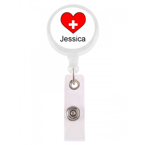 Retracteze ID Holder Red Heart with FREE name print