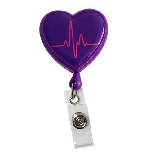 Retracteze ID Holder Heart ECG Purple