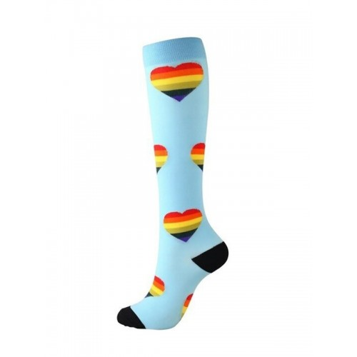 Nurse Compression Socks Hearts Blue